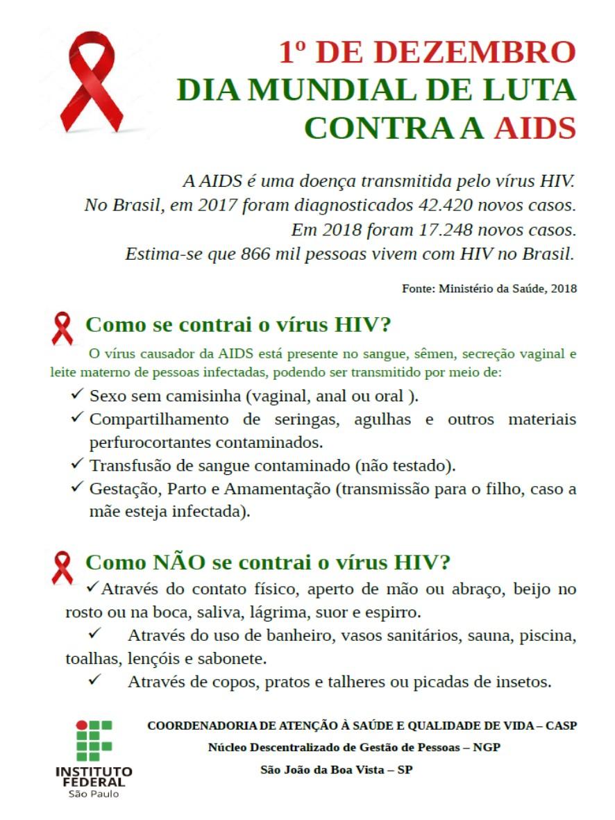 1° de Dezembro Dia Mundial de combate à AIDS