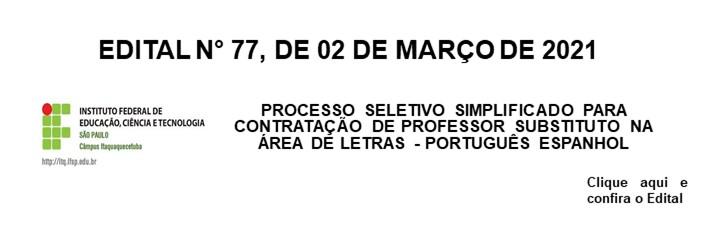Processo Seletivo Simplificado Letras: Portugues/Espanhol