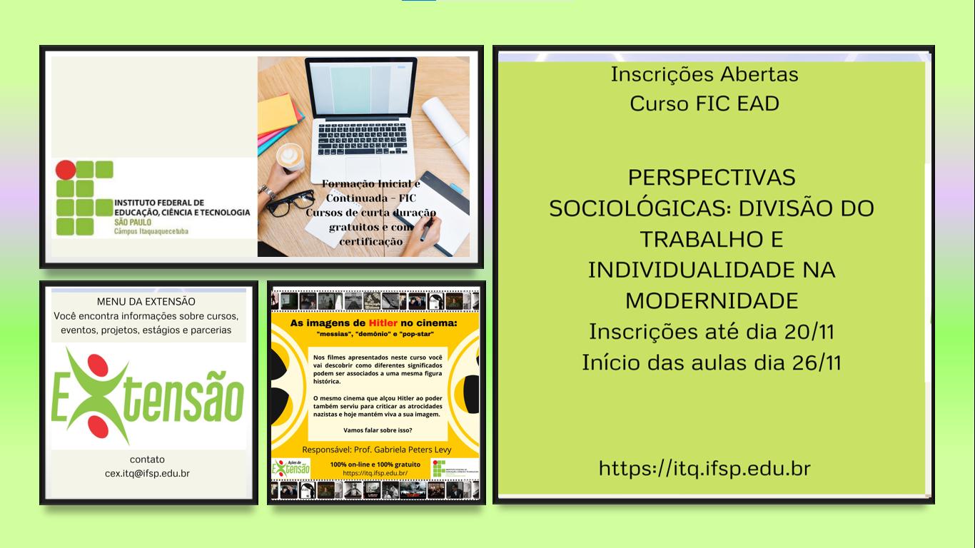 Inscrições abertas Cursos de Extensão FIC