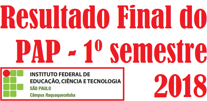 Resultado Final do PAP - 1º semestre 2018