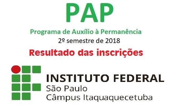 Resultado das inscrições no Programa de Auxílio Permanência (PAP) do 2º semestre de 2018